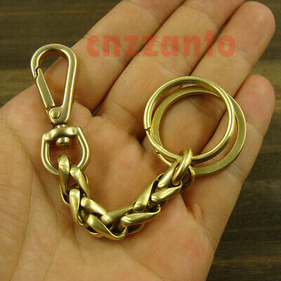 £10.74 • Buy Solid Brass Key Chain Ring Belt Holder Snap Hook Clip Keychain H728