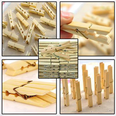 £3.49 • Buy 40 Wooden Clothes Pegs Washing Line  Wood Peg Gardens Airer-dry Natural Colour