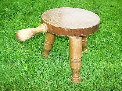 $99 • Buy Vintage Milking Stool With Handle Very Solid Construction 10  X 9  Three Legged