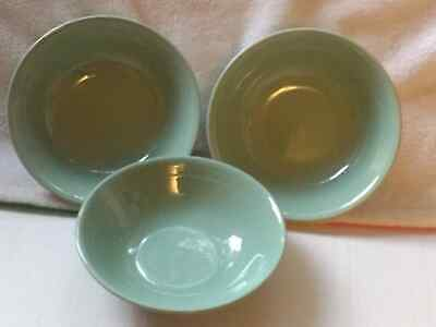 £9.99 • Buy BERYL WOODS WARE CEREAL DESSERT DISHES/BOWL 6 1/2  VINTAGE GREEN X3 Vgc.