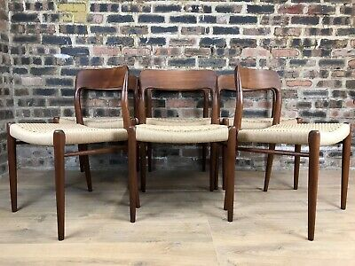 £2995 • Buy Neils O Moller Model 75 Mid Century Dining Chairs   Set Of 6   New Paper Cord