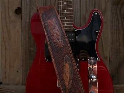 $ CDN48.56 • Buy Handmade Leather Guitar Strap With Feather And Flower Embossing