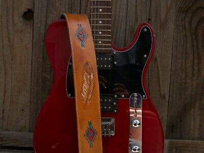 $ CDN52.29 • Buy Handmade Padded Leather Guitar Strap With  Native American Inspired Embossing