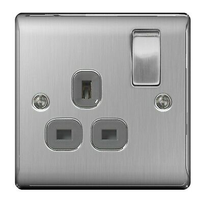 £6.49 • Buy 13A Single Gang Double Pole Switched Plug Socket Brushed Steel BG NBS21G