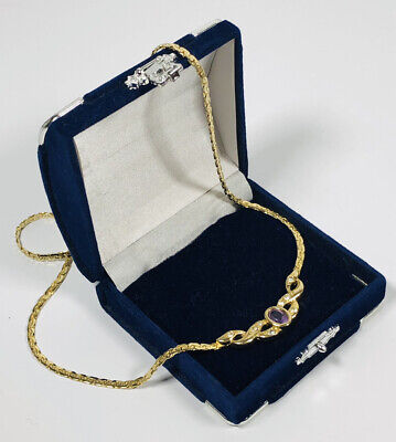 £9.99 • Buy Vintage Necklace Gold Tone Snake Chain & Amethyst Glass Collar Length Flat Lay
