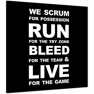 £29.99 • Buy Rugby Quote Canvas Wall Art Print Black And White