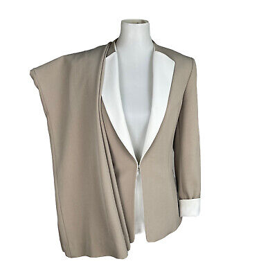 £31.11 • Buy TAHARI Women 2PC Stretchy Beige White Collarless Polyester Pant Suit Size 10