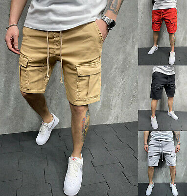 $19.99 • Buy Mens Casual Chino Pocket Cargo Shorts Sport Joggers Pants Trousers Summer Gym