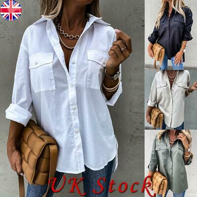 £5.99 • Buy Womens Baggy Shirt Button Up Long Sleeve Ladies Casual Loose Office Work Tops UK