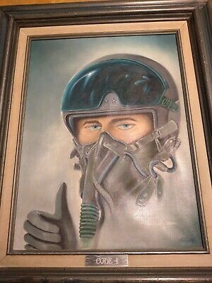 $99 • Buy Military Oil Painting Of US. Fighter Pilot General 16  X 12  Signed Reese 87