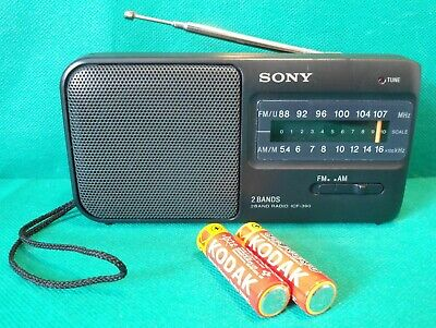 £9.99 • Buy SONY ICF-390 2 Band Receiver 6  Portable Tabletop FM AM Radio Battery Operated