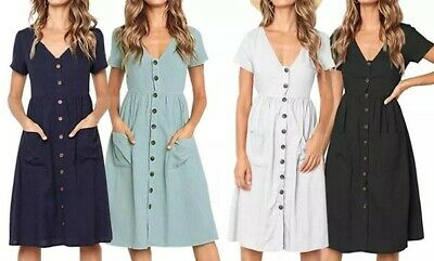 £6.79 • Buy UK Boho Women's Summer Midi Dress Holiday Button Front Cap Sleeve Dress Cover Up