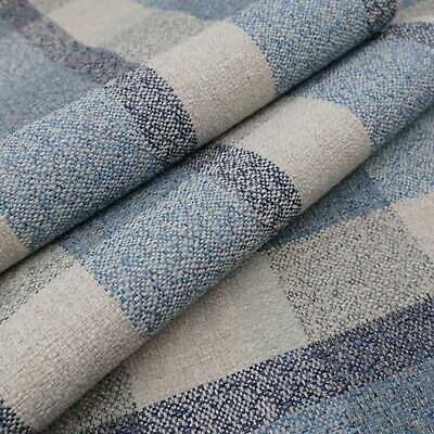 £8.99 • Buy Multi Texture Check Blue Linen Look Durable Soft Furnishing Upholstery Fabric