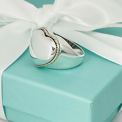 £249.89 • Buy Size 7 Tiffany & Co Sterling Silver And 18k Rope Gold Puffed Heart Signet Ring