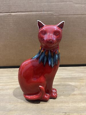 £49.99 • Buy POOLE POTTERY, RED DELPHIS CAT, BLUE COLLAR 17cm