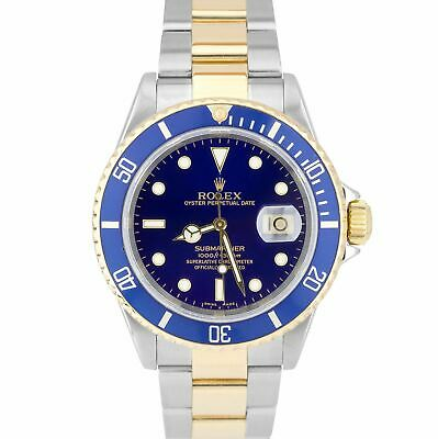 $ CDN13533.48 • Buy Rolex Submariner Two-Tone Stainless Blue Date Dive 40mm SEL No-Holes Watch 16613