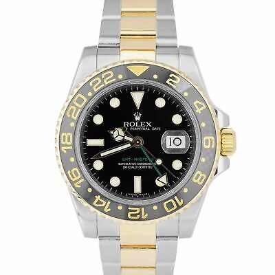 $ CDN16356.50 • Buy Rolex GMT-Master II Ceramic Black 18K Two-Tone Gold Stainless 40mm Watch 116713