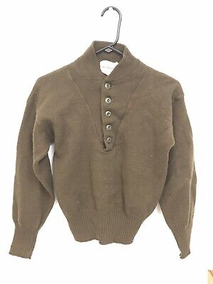 $23.99 • Buy Jack Young Olive Drab 100% Wool Henley US Army Military Sweater Size L (42-44)