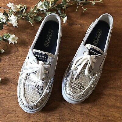 $20 • Buy Sperry Top Sider Sequins Silver Shoes Women Size 7