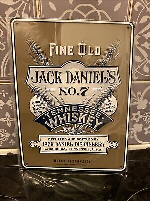 £8.99 • Buy Fine Old Jack Daniel's No.7 Tennessee Whiskey Metal Tin Sign - Brand New