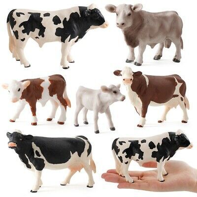 £7.18 • Buy Toy Miniatures Cows Simulated Animal Figurines Cow Action Figure Plastic Models