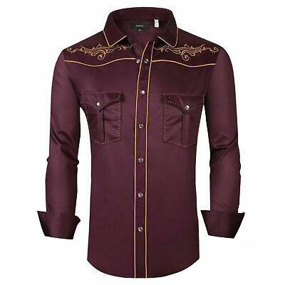 $29.95 • Buy Mens Western Rodeo Cowboy Shirt Burgundy Gold Embroidery Floral Pocket General 6