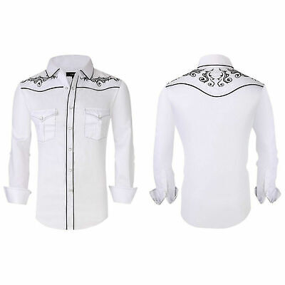 $29.95 • Buy Mens Western Rodeo Cowboy Shirt White Black Embroidered Floral Pockets General 5