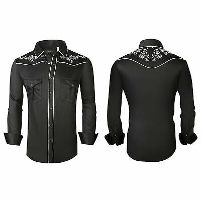 $29.95 • Buy Mens Western Rodeo Cowboy Shirt Black White Embroidered Floral Pockets General 4