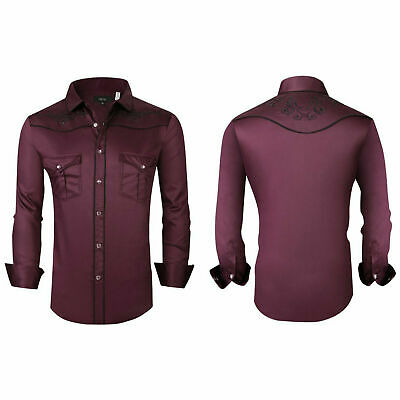 $29.95 • Buy Mens Western Rodeo Cowboy Shirt Burgundy Embroidered Floral Pockets General 08
