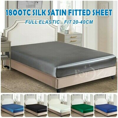 AU26.99 • Buy 1800TC Art Silky Satin Fitted/Bottom Sheet Bed Single KS Double Queen King Bed