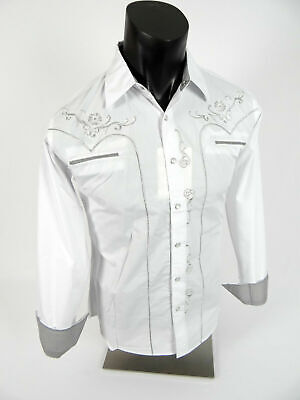 $30.95 • Buy Mens Western Rodeo Cowboy Shirt White Embroidered Shiny Silver Floral Snap Up