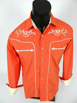 $25.95 • Buy Mens Western Rodeo Shirt Salmon Color Snap-Up Embroidered Floral Horseshoes