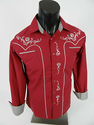 $30.95 • Buy Mens Western Rodeo Cowboy Shirt Burgundy Embroidered Shiny Silver Floral Snap Up
