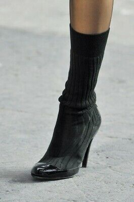 £283.20 • Buy Authentic Chanel Runway Black Patent Leather CC Logo Sock Boots Size EU 38 US 8