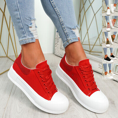$ CDN25.95 • Buy Womens Flatform Trainers Ladies Lace Up Canvas Sneakers Women Party Shoes Size