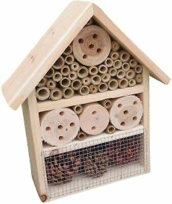 £10.69 • Buy Large Wooden Insect Bee Hive Garden Nesting Box House Natural Wood Shelter New
