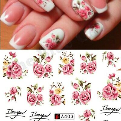 £1.65 • Buy Nail Art Water Decals Stickers Transfers Rink Roses Flowers Gel Polish