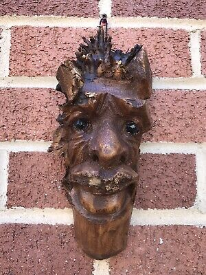 £11.99 • Buy ChiselCraft Wooden Root Tree Spirit Face Green Man In Or Out Carving Wood 11