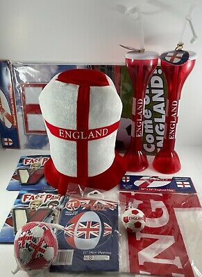 £18.95 • Buy ENGLAND 2020 Party BUNDLE Yard Of Ale (2) Hat Flag Beach Ball Face Paints ..MORE