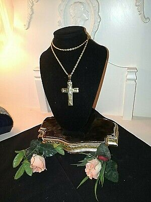 £40 • Buy Greek Style Large Cross & Chain Necklace In Gold Tone