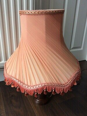 £59.99 • Buy Vintage Pleated Chiffon Fabric Lampshade Tassels Salmon Pink Peach And Carrier