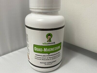 £15.58 • Buy Quad Magnesium Blend Complex W/Glycinate Chelate Orotate Taurate 60ct VitaMonk