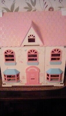 £45 • Buy ELC Rosebud Wooden Dolls House Comes With Wooden Furniture And A Family