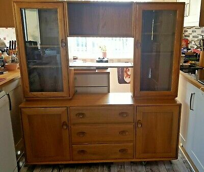 £99 • Buy Ercol Display Unit In Lt With 2 Glass Cabinets And 3 Drawer Sideboard