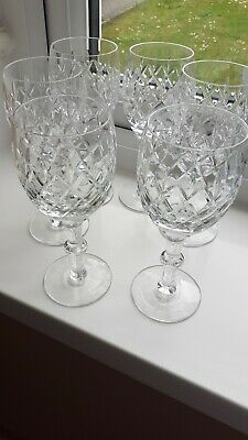 £11.99 • Buy 6 Royal Doulton Crystal Wine Glasses With Knopped Stems