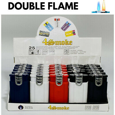 £17.99 • Buy 3 X SOLID DOUBLE FLAME CIGAR WINDPROOF JET FLAME ELECTRONIC LIGHTER (Refillable)