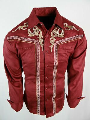 $33.95 • Buy Mens Western Rodeo Shirt Burgundy All Suede Faux Stretch Embroidered Snap Up