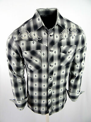 $29.95 • Buy Mens Western Rodeo Shirt Black Plaid Embroidered Snap Up Cowboy Pockets