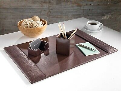 £39.99 • Buy Brown Crocodile Leather Handmade Desk Pad Blotter Corporate Gift Home Office