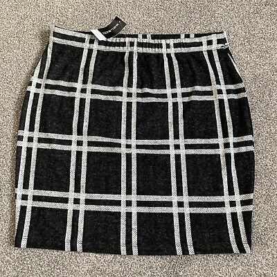 £2.99 • Buy Womens Size 14 NEW A Line Checkered Skirt Soft Stretchy Work Smart